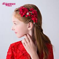 花童礼服演出配饰女童发卡发饰女童头饰儿童头花饰品发夹花朵红色