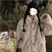 羊羔毛2020新款冬季仿兔毛皮草毛�q�q茸茸��松短款�n版外套大衣女