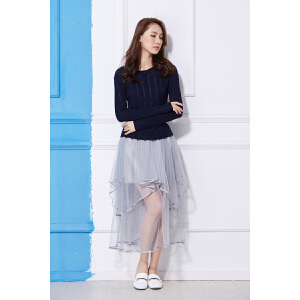 2018春装新款纯色毛衣女长袖修身针织打底衫女韩版立体短款百搭衣