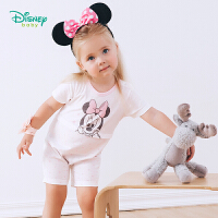 【99元3件】迪士尼Disney童装 米妮印花短袖连体衣夏季新款女孩外着衣服宝宝纯棉爬服192L798