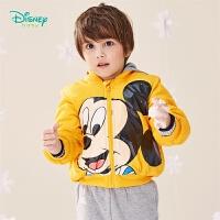 【2件3折到手价:99.6】迪士尼Disney童装 男童米奇印花棉服冬季新品夹棉保暖连帽上衣帅气夹克版型194S115