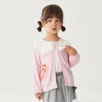 【1件4折价:83.6】moomoo童装女童翻领针织开衫秋季新款洋气女小童趣味刺绣花边上衣
