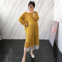 孕妇秋装套装时尚款2018新款针织毛衣纱裙两件套中长款冬季打 均码