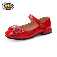 巴布豆童鞋 女童皮鞋2018春季新款女童单鞋红色学生演出鞋公主鞋