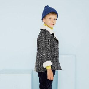 【2件2.5折到手价:62.5】美特斯邦威旗下童装moomoo童装男童时尚复合短毛绒外套中大童冬装外套上衣