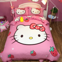 卡通纯棉四件套公主可爱被套凯蒂猫全棉单双人被罩哈喽KT儿童床品