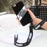iphone6手机壳创意字母男女苹果6SPLUS挂绳手绳保护套情侣软