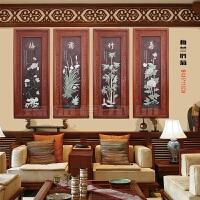客厅背景墙装饰画玉雕玉石画挂件中式雕刻立体挂画实木浮雕木雕画