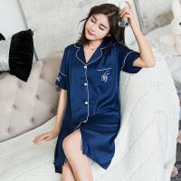 睡裙女夏季性感韩版清新学生短袖开衫睡衣可外穿家居服