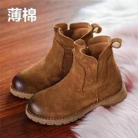 女童靴子冬季棉靴2018新款真皮男童短靴英伦风小公主儿童鞋马丁靴