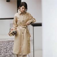 七格格卡其色风衣女中长款2018秋冬季新款宽松休闲矮个子长袖秋装外套女