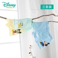 迪士尼Disney童装 男宝宝卡通平角内裤3条装新品透气弹力四角底裤儿童贴身内衣裤201P844
