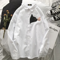 2018新款春季外套男士长袖白衬衫修身韩版潮流帅气衬衣青少年寸衫 白色