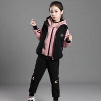 女童秋冬装2018新款洋气儿童装运动三件套装加绒加厚时髦大童女孩 粉色