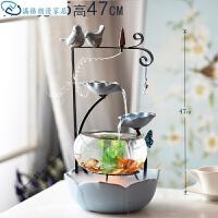 陶瓷小型鱼缸创意结婚礼物流水喷泉家居饰品加湿器桌面办公室摆件