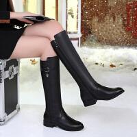 过膝长靴女春2018新款长筒靴真皮平跟女靴加绒雪地靴女平底高筒靴SN4007 黑色加绒