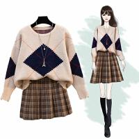 套装裙 女士洋气短裙半身裙毛衣两件套长袖冬季韩版新款女式时尚学院风休闲女装两件套