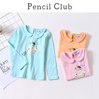 【3折价:24】铅笔俱乐部童装2020春装新款女童时尚T恤中大童卡通长袖儿童T恤