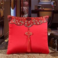 中式大红抱枕被子两用沙发靠枕婚庆喜庆靠垫中国结汽车午睡空调被 40*40cm(打开105*150)