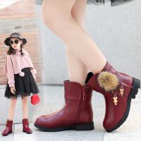 童鞋女童靴子2018冬季新款加绒马丁靴儿童皮靴女孩雪地靴保暖潮鞋