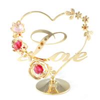 水晶花簇玫瑰love摆件刻字婚庆礼品创意表白情人节送老婆爱人