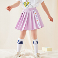 【1件4折价:55.6】moomoo童装女童短裤夏季新款洋气可爱女中童百褶速干运动风裙裤