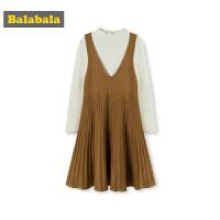 巴拉巴拉女童秋装2018新款时髦套装女大童洋气两件套裙子毛衫韩版