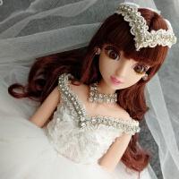 多关节婚纱娃娃套装礼盒仿真洋娃娃儿童玩具女孩公主生日毕业礼物 白色白婚纱01 48厘米
