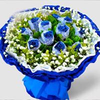 adfenna七夕情人节送女朋友礼物 蓝色妖姬蓝玫瑰花束礼盒