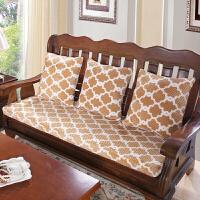 冬加厚毛绒海绵红实木沙发坐垫单三人木头沙发座垫飘窗可拆洗