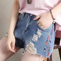 Freefeel2018夏季新款刺绣花牛仔短裤女装磨破洞显瘦白搭外穿宽松简约高腰