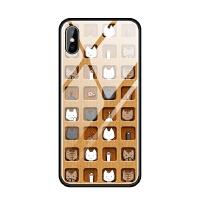 苹果iphoneX 6s 7 8 plus 5se蓝光玻璃手机壳可爱格子萌李现同款