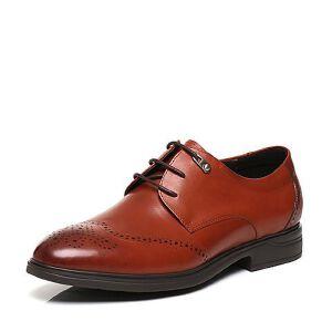 Belle/百丽春专柜同款红牛皮雕花布洛克风商务男皮鞋4TT11AM7