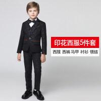 儿童西装套装三件套钢琴演出服中大童男童小西服外套花童礼服男夏 黑色印花西服5件套