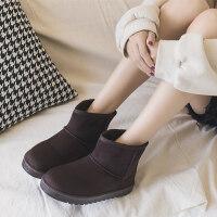 冬季新款短筒雪地靴女百搭网红短靴子韩版平底中筒加绒棉鞋秋