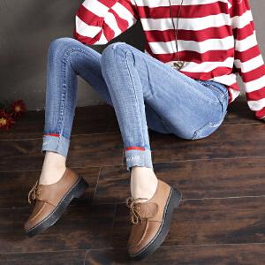 Freefeel2018春季牛仔裤女长裤显瘦翻边个性弹力小脚裤卷边修身高腰铅笔裤