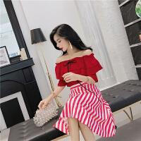 小心机时髦套装夏季新款一字领露肩荷叶边上衣+条纹半身A字大摆裙 红上衣+条纹裙
