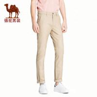 camel 骆驼男装 春季新款男青年中腰修身直筒长裤时尚微弹休闲裤潮