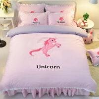 粉色独角兽少女心全棉床裙四件套火烈鸟粉红豹卡通绣花纯棉床品上新
