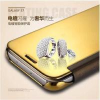 【正品包邮】三星s7智能保护套A9手机壳S7 edge曲屏镜面手机壳a8皮套A7手机套A7100防摔壳A5100翻盖皮