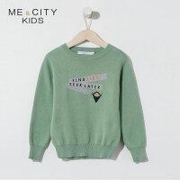 【1件2.5折到手价:58.8】米喜迪mecity童装春新款男童字母刺绣长袖毛衣针织衫