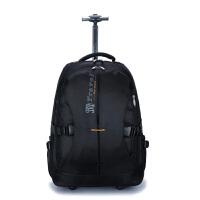 双肩拉杆包大容量旅行背包袋商务登机男女防泼水旅游手提行李箱包 黑色 小