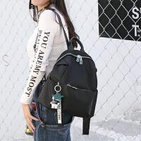 0530012753537牛津布配牛皮双肩背包女韩版新款百搭防水尼龙旅行学生书包潮 黑色
