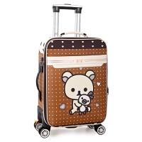 旅行箱包拉杆箱行李箱男女20/24寸万向轮学生登机密码箱韩版皮箱 浅灰色 咖啡KT猫