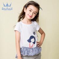 【秒杀价:69元】水孩儿souhait短袖裙夏季新款女童时尚可爱裙式上衣女童短袖AZSXM467