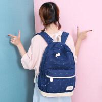 韩版帆布双肩包 校园大学生时尚女旅行背包开学女学生韩版潮书包