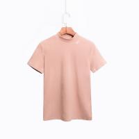 许想想半高领打底衫韩版百搭修身刺绣字母短袖纯色显瘦T恤女