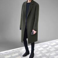 2018冬季新款韩版青年双面无羊绒大衣男中长款落肩咖色毛呢子外套