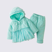女宝宝冬装两件套装婴幼儿蕾丝外出衣服公主加厚保暖棉衣1岁棉袄