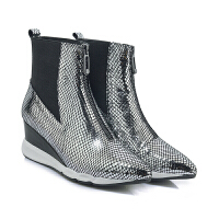 2018秋季新款时尚中高跟尖头短靴女马丁靴平底坡跟女靴子及裸靴潮